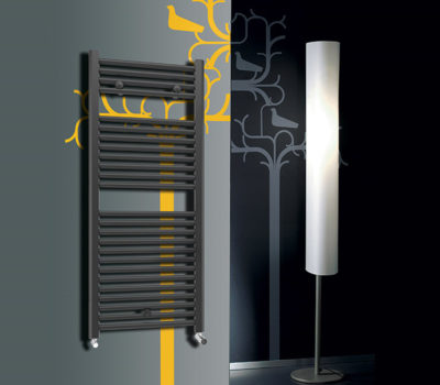 Roma Anthracite Curved 25mm Bars Heated Towel Rail-0