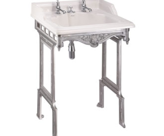 Burlington Classic 65cm basin with invisible overflow and brushed aluminium basin stand-0