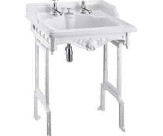 Burlington Classic 65cm basin with invisible overflow and white aluminium basin stand-0