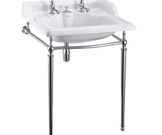 Burlington Classic 65cm Basin with invisible overflow and basin stand-0