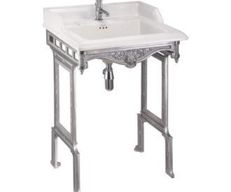 Burlington Classic 65cm basin and brushed aluminium basin stand-0
