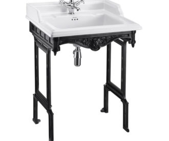 Burlington Classic 65cm basin and black aluminium basin stand -0