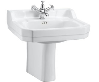Burlington Edwardian 56cm Basin and semi pedestal-0