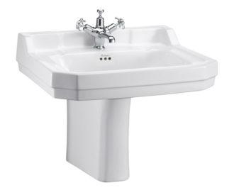 Burlington Edwardian 61cm basin and semi pedestal-0