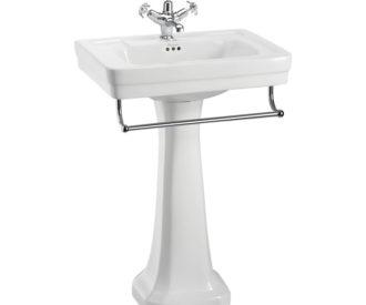 Burlington Contemporary 57.5cm basin, towel rail and standard pedestal-0
