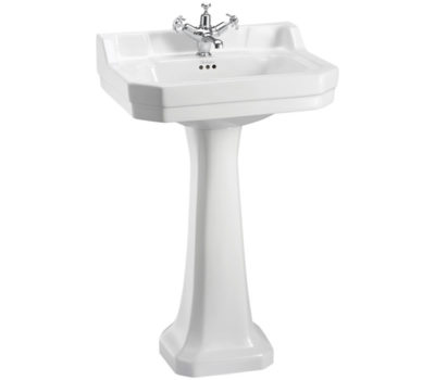 Burlington Edwardian 56cm basin with standard pedestal-0