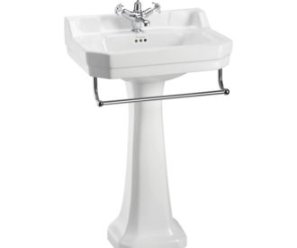 Burlington Edwardian 56cm basin, Towel rail and standard pedestal-0