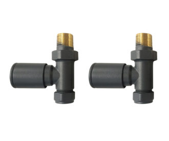 Round Straight Radiator Valves Anthracite Pair-0