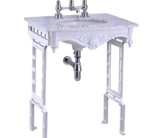Burlington Carrera marble top & basin with white aluminium washstand (shown without back and side splash)-0
