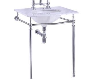 Burlington Carrera marble top & basin with basin stand -0
