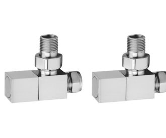 Square Chrome Angled Radiator Valves Pair-0