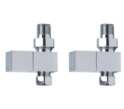 Square Chrome Straight Radiator Valves -0
