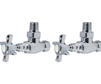 Traditional Chrome X Head Angled Radiator Valves Pair -0