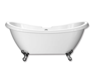 Traditional Double Slipper Freestanding Acrylic Bath & Feet-0