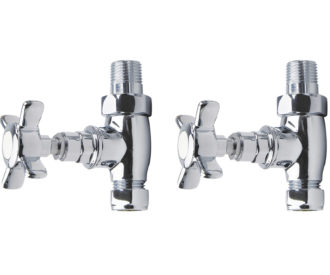 Traditional Chrome X Head Straight Radiator Valves Pair -0