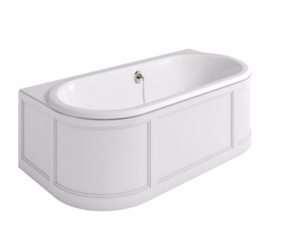 London Bath Matt White With Curved Surround (2 Styles Available)-0