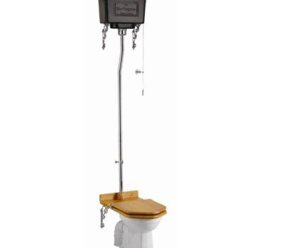 Standard High Level WC with Dual Flush Black Aluminium Cistern-0