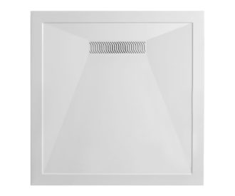 Square 25mm Stone Resin Shower Tray with Linear Waste -0