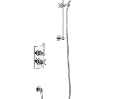 Trent Thermostatic Single Outlet Concealed Shower Valve with Rail, Hose and Handset -0