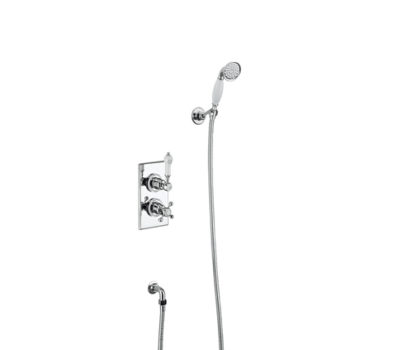 Trent Thermostatic Two Outlet Concealed Divertor Shower Valve with Shower Hose-0