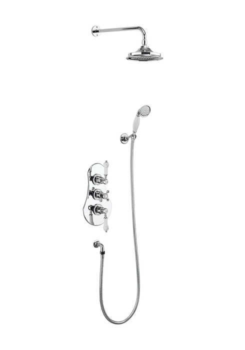 Severn Thermostatic Two Outlet Concealed Shower Valve, Fixed Shower Arm, Handset & Holder with Hose -0