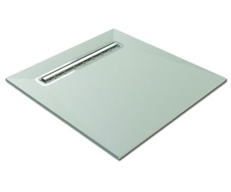 Baseboard Wetroom Shower Tray with Linear Drain 900X900-0