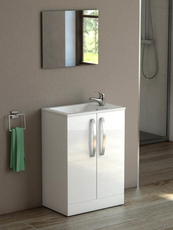 Polo 500 White Gloss Floor Unit & Basin-0
