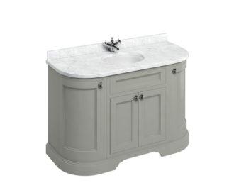 Freestanding 1340 Dark Olive Curved Vanity Unit with Doors -3620