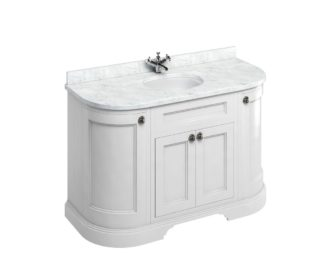 Freestanding 1340 Matt White Curved Vanity Unit with Doors-3626