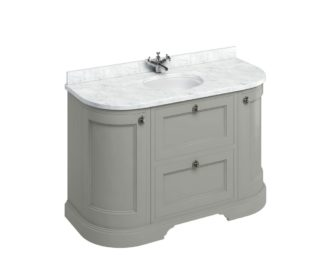 Freestanding 1340 Dark Olive Curved Vanity Unit with Doors & Drawers-3631