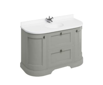 Freestanding 1340 Dark Olive Curved Vanity Unit with Doors & Drawers-0