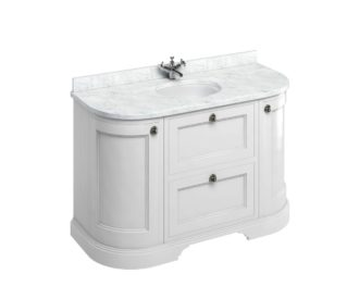 Freestanding 1340 Matt White Curved Vanity Unit with Doors & Drawers-3635