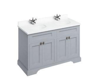Freestanding 1300 Grey Unit & Double Vanity Bowl with Doors-0