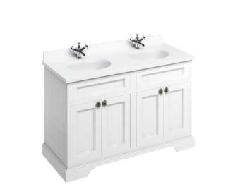 Freestanding 1300 Matt White Unit & Double Vanity Bowl with Doors -0