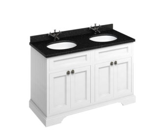 Freestanding 1300 Matt White Unit & Double Vanity Bowl with Doors -3647