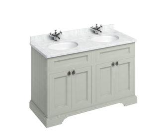 Freestanding 1300 Olive Unit & Double Vanity Bowl with Doors-3641