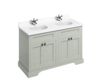 Freestanding 1300 Olive Unit & Double Vanity Bowl with Doors-0