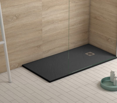 Rectangle Ibiza Slate Shower Tray & Waste Anthracite-0