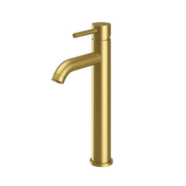 Oir Brushed Brass Tall mono basin c/w spring waste-0