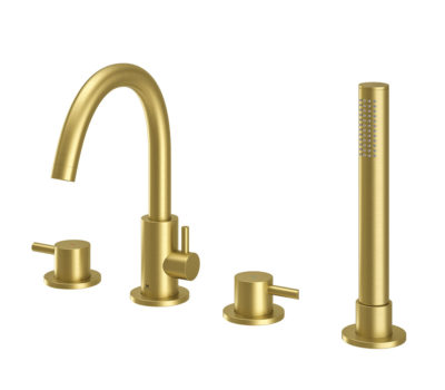 Oir Brushed Brass 4 Hole Bath Shower Mixer-0