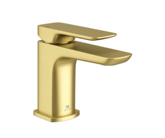 Pure Brushed Brass Mini Mono Basin Mixer & spring waste -0
