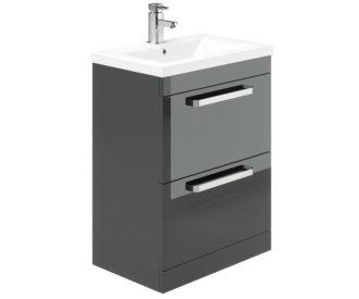 Sorrento 500 2 Drawer Floor Unit Grey Gloss-0