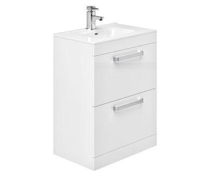Sorrento 500 2 Drawer Floor Unit Grey Gloss-4202