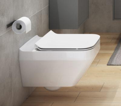 CREA CLEAN ON RECTANGULAR WALL HUNG TOILET PAN & SOFT CLOSE SEAT-0